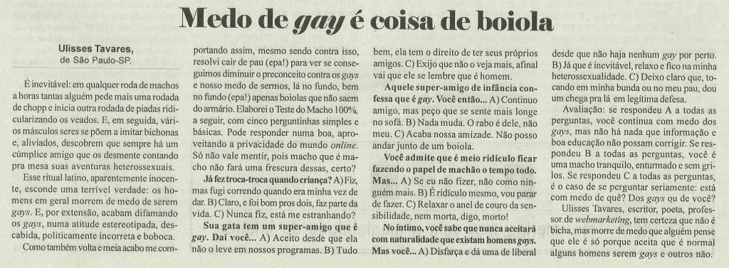 [Agosto 2013] Medo de gay é coisa de boiola